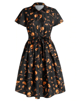 Halloween Skull Print Half Button Belted Dress by Dress Lily