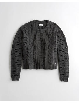 Open Stitch Cable Chenille Crewneck Sweater by Hollister