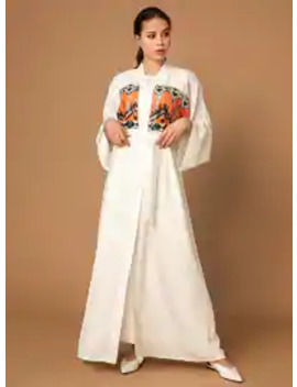 White   Unlined   Abaya by Modanisa
