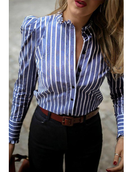 Lovely Work Striped Blue Blouse by Lovely Wholesale