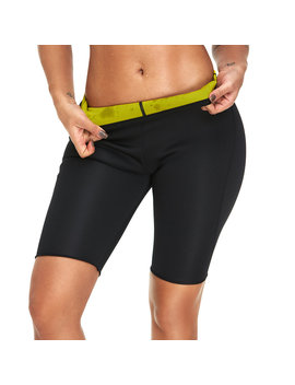 Plus Size Neoprene Sweat Slimming Shorts Burn Calorie For Sports Yoga Shapewear Bottom by Newchic