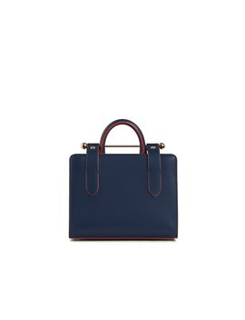 The Strathberry Nano Tote   Navy With Maple Edge by Strathberry