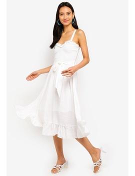 Sweetheart Neck Ruffle Trim Smocked Midi Dress by Indikah