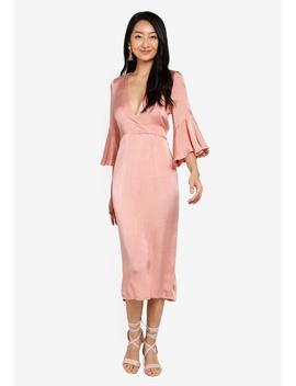 Fluted Sleeve Midi Dress by Indikah