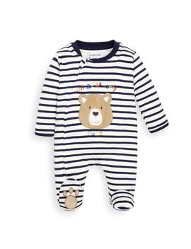 Navy Stripe Bear Appliqué Zip Baby Sleepsuit by Jo Jo Maman Bebe