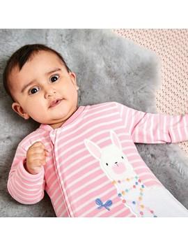 Pink Stripe Llama Appliqué Zip Baby Sleepsuit by Jo Jo Maman Bebe