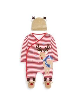 Reindeer Appliqué Baby Sleepsuit & Hat Set by Jo Jo Maman Bebe