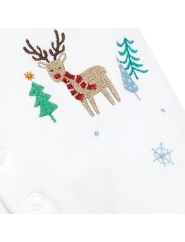 White Reindeer Embroidered Sleepsuit by Jo Jo Maman Bebe
