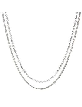 Diamonte Chain Charm Necklace  Silver by Luv Aj
