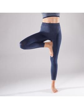 Domyos Yoga Women's Seamless 7/8 Leggings   Blue by Domyos