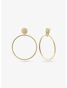 14 K Gold Plated Sterling Silver Pavé Hoop Drop Earrings by Michael Kors