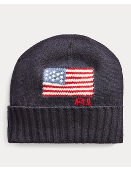 Flag Merino Wool Blend Hat by Ralph Lauren