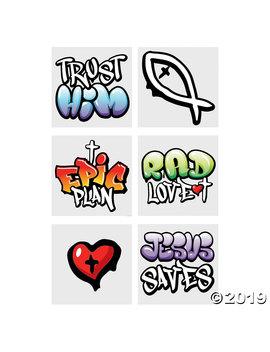 Jesus Graffiti Temporary Tattoos by Oriental Trading