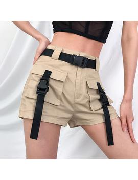 2019 Printemps été Taille Haute Shorts Avec Boucle Ruban Kaki Coréen Style De Rue Coton Court Feminino Cargo Shorts by Ali Express.Com