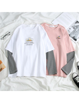 Harajuku T Shirt à Manches Longues Femmes Hip Hop Ulzzang T Shirts Style Coréen Lettre Impression T Shirts Filles Automne Mode Noir Hauts Blancs by Ali Express.Com