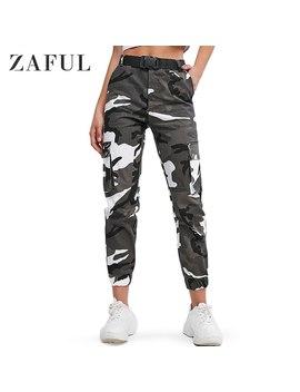 Zaful Camouflage Ceinturé Ample Taille Haute Survêtement Pantalon Cargo Pantalon Poches Embellissement Veste Pour Homme Type Militaire Pantalon 2019 Automne by Ali Express.Com