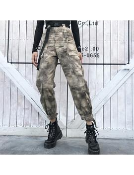 Houzhou Camo Cargo Pantalon Femmes Coton Lâche Pleine Longueur Camouflage Taille Haute Pantalon Femmes Avec Ceinture Streetwear Modis Pantalon by Ali Express.Com