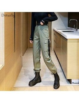 Mode Femme Cargo Pantalon Avec Ceinture Femme Hip Hop Streetwear Taille Haute Coton Noir Pantalon Crayon Pantalon 2019 Automne Pa82 by Ali Express.Com