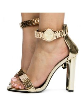 Watch Strap Heel  Gold Patent by Liliana Shoes