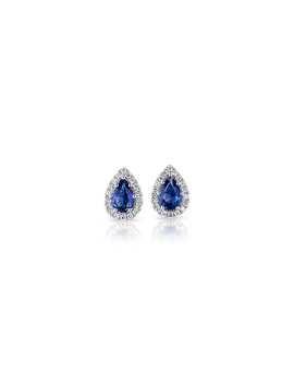 Aretes Con Zafiros En Forma De Pera Con Halo De Diamantes En Oro Blanco De 14 K(5x4Mm) by Blue Nile
