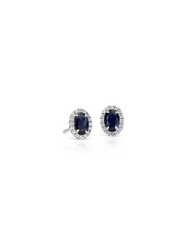Aretes Con Micropavé De Diamantes Y Zafiros  En Oro Blanco De 14 K (6x4Mm) by Blue Nile