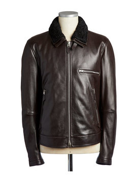 Shearling Trimmed Bomber Jacket by Tom Ford Shearling Trimmed Bomber Jacket