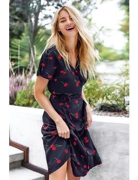 Navy Cherry Print Wrap Dress by Cupshe