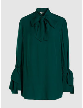 Baxter Tie Neck Belted Crepe Shirt by Layeur