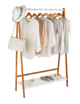 Argos Home Belvoir Clothes Rail With Shelf   Bamboo & White by Argos