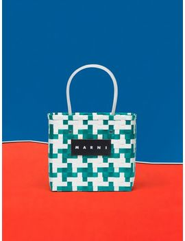 Marni Market Green And White Squared Shopping Bag In Woven Polypropylene by Marni