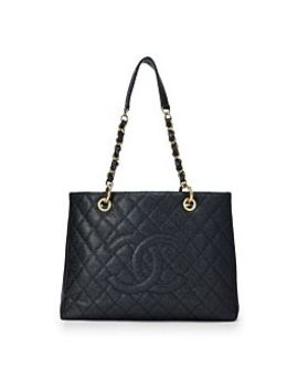 Black Quilted Caviar Leather Grand Shopping Tote by Chanel
