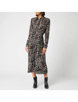 Ganni Women's Printed Georgette Dress   Black by Ganni