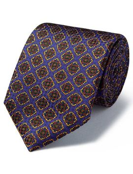 Purple Silk Medallion Print Textured English Luxury Tie by Charles Tyrwhitt
