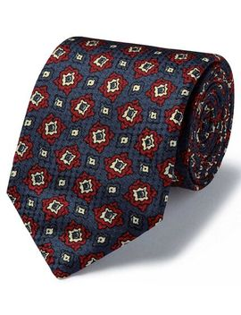Navy And Red Geo Multi Print Textured English Luxury Tie by Charles Tyrwhitt