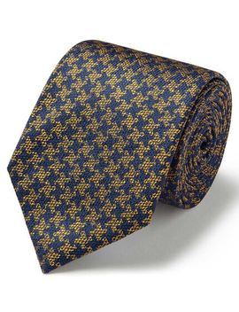 Gold And Navy Silk Puppytooth Classic Tie by Charles Tyrwhitt