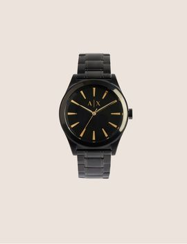 Matte Black Watch And Bracelet Gift Set by Armani Exchange