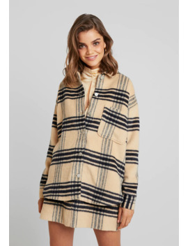 Purposeful Brushed Check Double Breasted Coat   Kurzmantel by Missguided