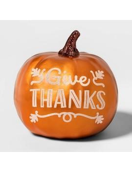 "metallic-""give-thanks""-painted-harvest-pumpkin-small---spritz by spritz"
