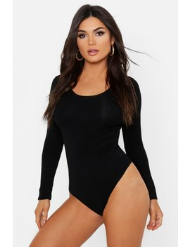 Basic Scoop Neck Long Sleeve Bodysuit by Boohoo