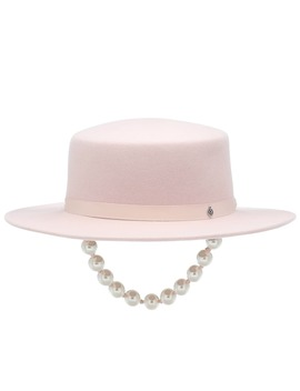 kiki-felt-hat-with-faux-pearls by maison-michel