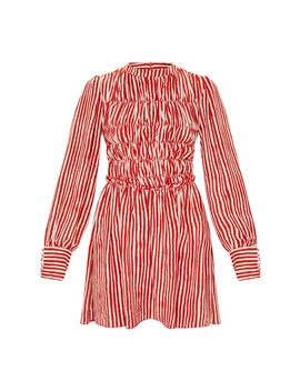 red-stripe-high-neck-shirred-bodice-long-sleeve-smock-dress by prettylittlething
