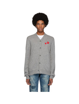 grey-wool-double-heart-cardigan by comme-des-garÇons-play