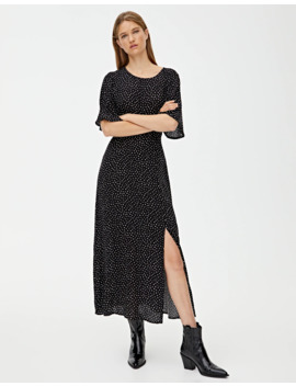 midi-dress-with-flared-sleeves by pull-&-bear