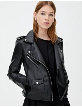 black-biker-jacket-with-zips by pull-&-bear