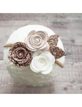 flower-headband,-rose-cluster,-rose-gold-bow,-baby_girl-headband,-wedding-hair,-hair-accessories,-fall-hair-crown by etsy