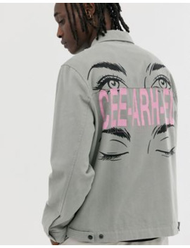 crl-by-corella-utility-style-jacket-with-back-print-in-grey by asos