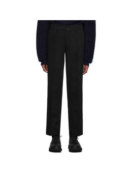 black-twill-slim-straight-trousers by blue-blue-japan