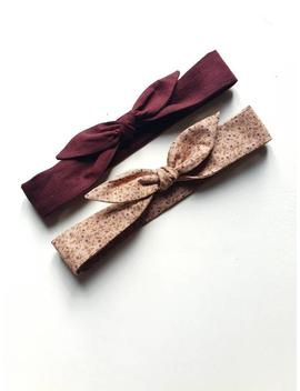 two-set-of-childrens-headbands-in-wine-linen-+-wild-berries by etsy