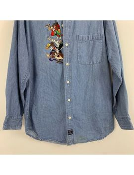 vintage-looney-tunes-long-sleeve-button-front-chambray-shirt-embroidered-small by warner-bros