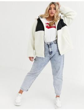 asos-design-curve-fleece-jacket-with-contrast-animal-in-cream by asos-design